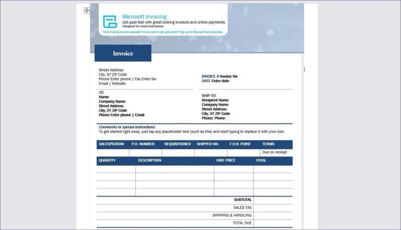 Standard-Microsoft-Invoice