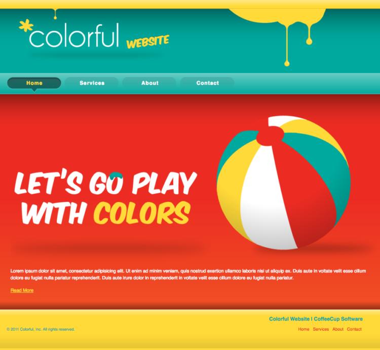 Colorful webpage layout